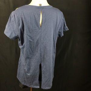 Hannah Tops - Hannah Blue Floral Shirt Slit Back